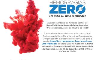 Convite |Evento APH Hemorragias Zero | 11-13h30| 19 de Dezembro | Assembleia da República